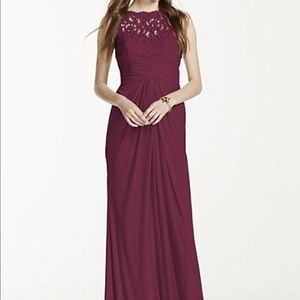 Sleeveless Long Mesh Dress with Corded Lace | Wine